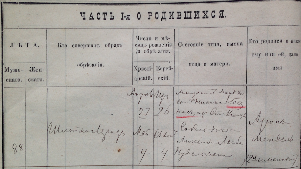 Jewish birth record from Russian Empire